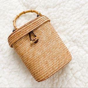 Victoria's Secret Rattan purse bag bamboo handle